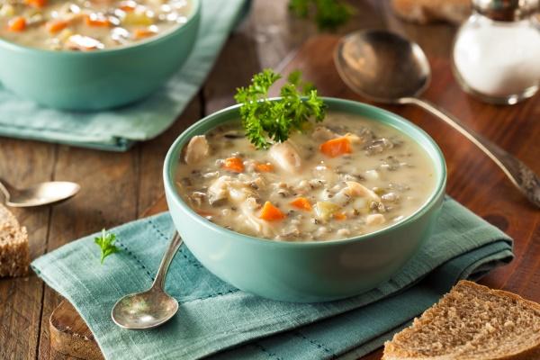 Суп с бурым рисом